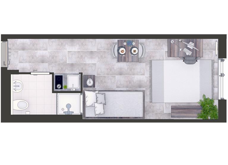 Der Grundriss eines Apartments im Ernstl-Wohnheim
